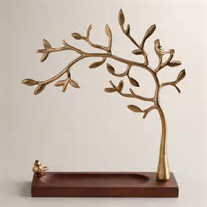 gold tree jewelry stand with wooden base world market