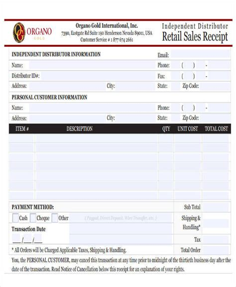 retail receipt template 44 sle receipt templates