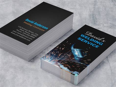 welding business card templates free modern welding service and metal fabrication photo