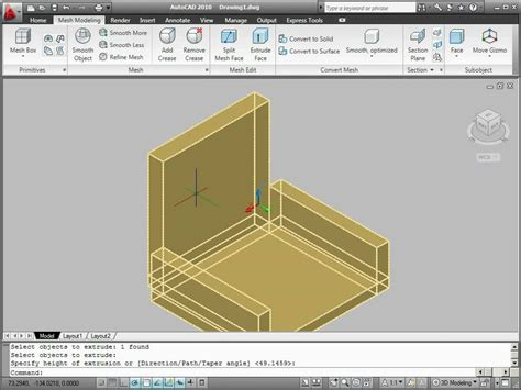 autocad 2007 tutorial 3d modeling mesh modeling in autocad 2010 youtube