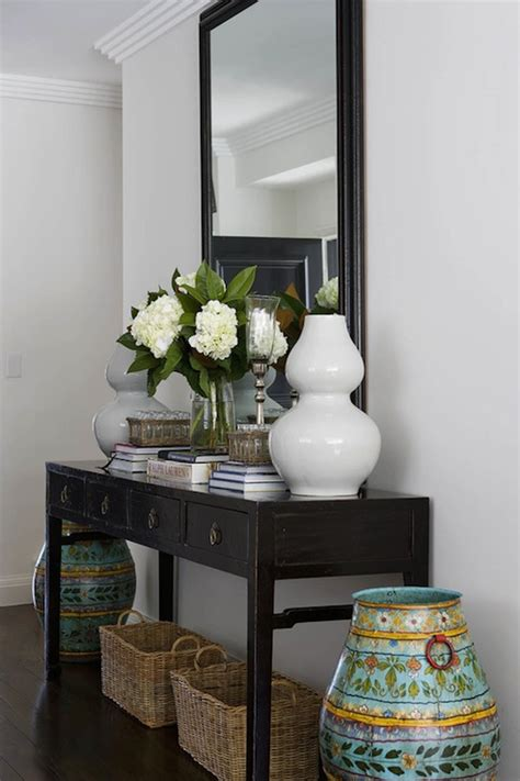 Ideas For Console Table With Baskets Design Black Console Table Transitional Entrance Foyer Denai Kulcsar Interiors