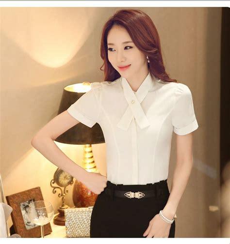 Blouse Shifon Tangan Pendek Kerah Kemeja Korean Style blouse lengan pendek putih polos 2015 myrosefashion
