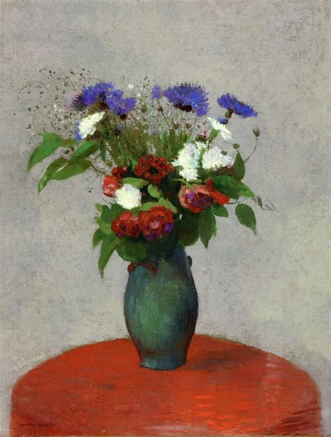 A Vase Of Flowers by Vase Of Flowers On A Tablecloth C 1900 Odilon Redon