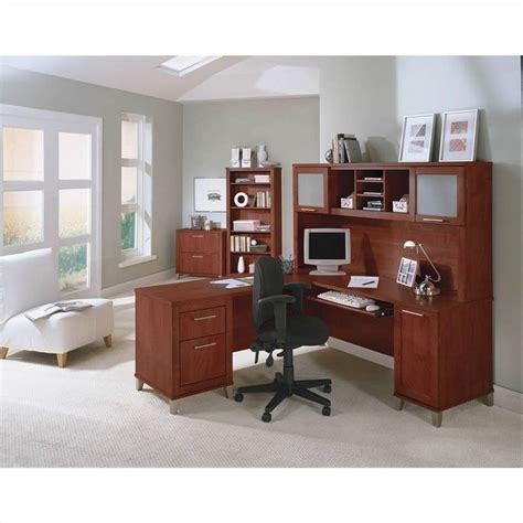 Bush L Shaped Desk With Hutch Bush Somerset 71 Quot L Shaped Computer Desk With Hutch In Hansen Cherry Wc81710k 03 Pkg1