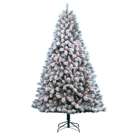 donner blitzen trees donner blitzen incorporated 7 5 pre lit snow country flocked pine tree with 600 clear lights