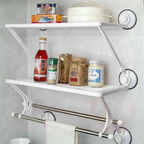 suction shelves bathroom bathroom accessories resin tri layer double pole suction