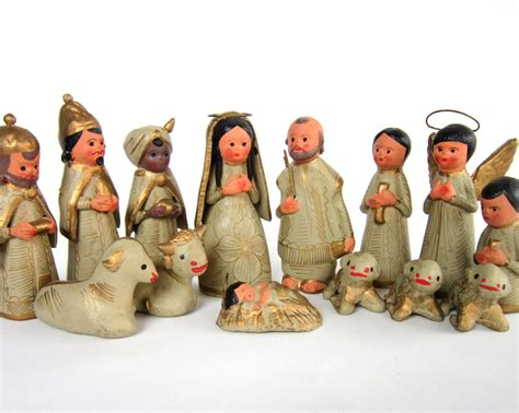 vintage christmas nativity set ceramic figurines mary joseph