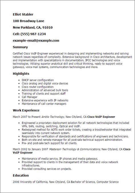 Cisco Network Administrator Sle Resume by Professional Cisco Voip Engineer Templates To Showcase Your Talent Myperfectresume