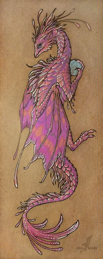 pink dragon tattoo designs pink bookmark by alviaalcedo on deviantart