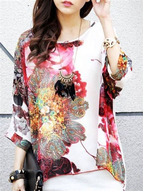 Batwing Top Free Size To Big Size large size batwing sleeve watercolor painting chiffon blouse e25207 cilory