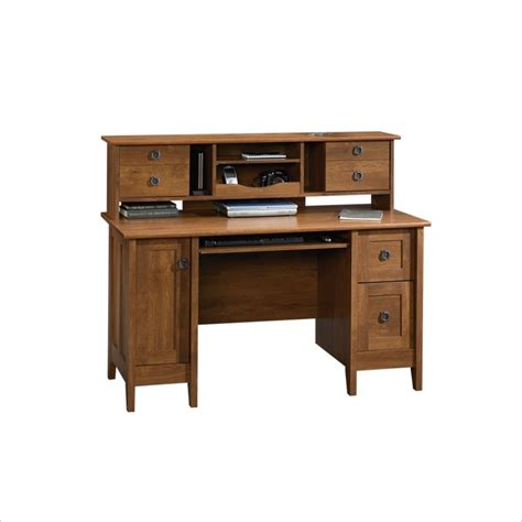 Comp Desk sauder august hill comp w hutch oak computer desk