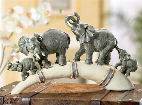 elephant decor safari home decor wildlife elephant family parade across horn base sculpture ebay