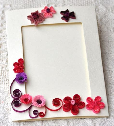 Handmade Quilling Frames - quilled handmade blank card photo frame fold card quilled