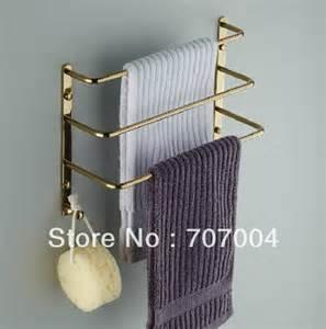 towel holders for bathrooms wall bathroom wall mounted golden brass towel rack three towel