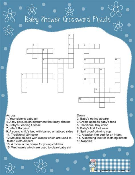 Baby Shower Crossword free printable baby shower crossword puzzle