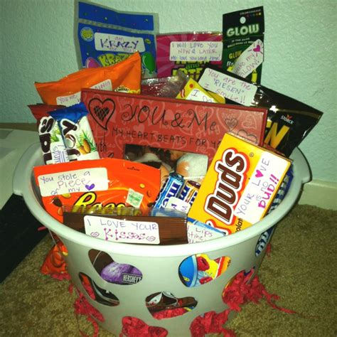 corny christmas gift ideas s day basket w corny sayings attached to the treats inexpensive