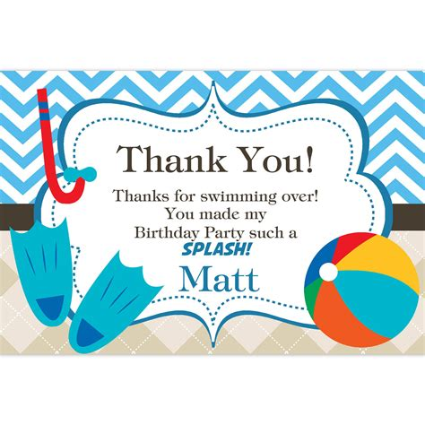 thank you for coming to my template pool thank you card blue chevron and by