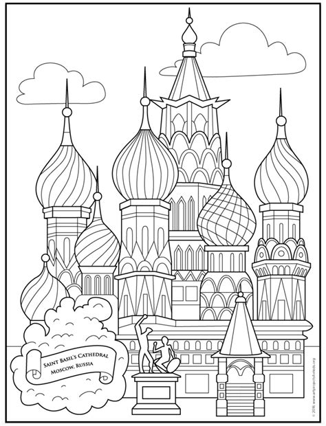 Saint Basil S Cathedral Coloring Page Art Projects For Kids Pdf St Templates