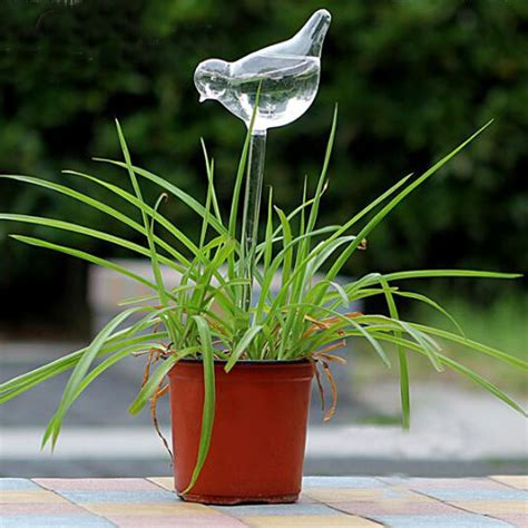 Glass Plant Water Feeders bird shaped glass plant flower watering spike stake water feeder ebay