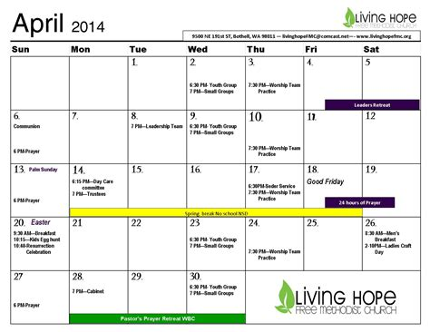 Calendar April 2014 April Calendar Easter Living Church