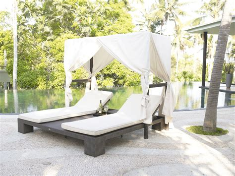 Outdoor Wicker Double Chaise Lounge Canopy 2934skyline
