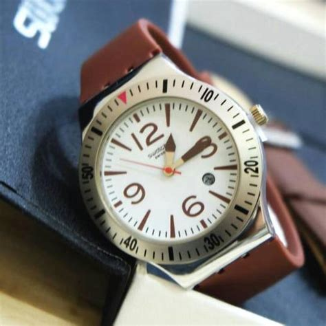 Jam Tangan Pria Jeep Jp9010 Brown Silver Leather Waterr Premium 1 jual jam tangan swatch set s732 paket 2 tali rubber kulit