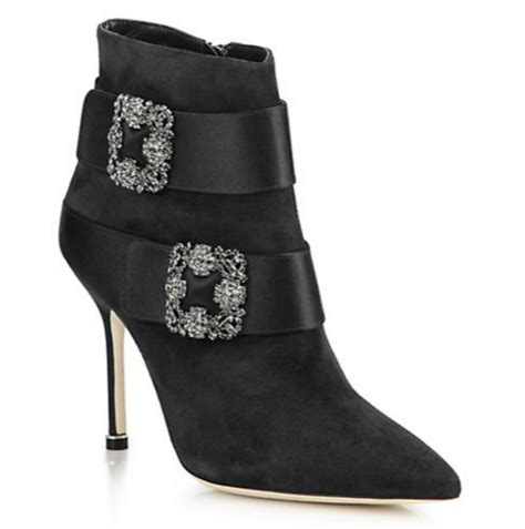 Shoe Of The Day Manolo Blahnik Plinia Suede Satin Ankle