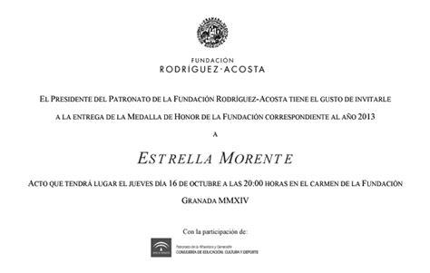 Apology Letter Reschedule Sle Entrega De La Medalla De Honor De La Fundaci 243 N 2013 Estrella Morente 1 Fundaci 243 N