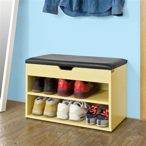 Shoe Storage Bench With Seat Sobuy 174 White 2 Tiers Shoe Storage Bench Shoe Cabinet With Padded Seat Fsr25 W Uk