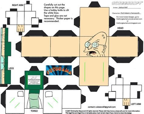 Futurama Papercraft - fut1 hubert farnsworth cubee by theflyingdachshund on