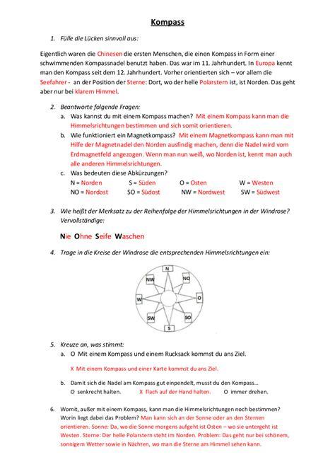 Kompass Arbeitsblatt