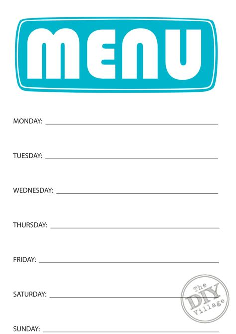 printable blank monthly menu planner 7 best images of blank printable weekly menu planner