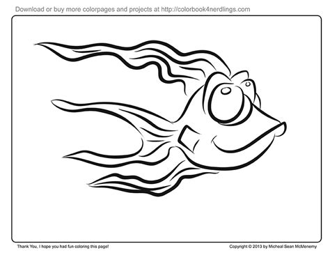happy fish coloring page colorbook 4 nerdlings