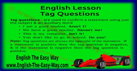 Tag Questions   English Grammar   English The Easy Way