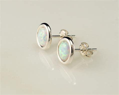opal earrings opal stud earrings october birthstone silver