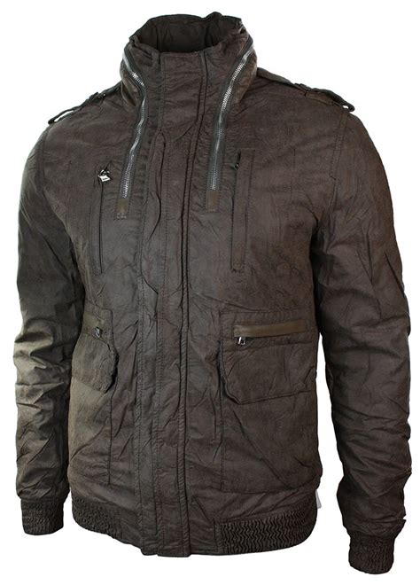 Jaket Bomber Motor Browngreen Army mens slim fit hide away light bomber jacket brown green grey ebay