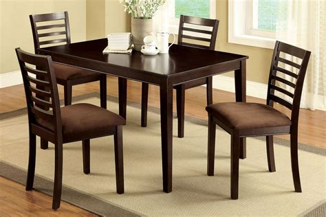 Dining Room Tables And Chairs For 4 Dining Room Furniture Table 4 Chairs With Padded Microfiber Seats Ebay