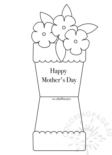 happy mothers day card template flower pot shape card coloring page