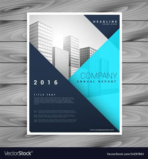Modern Minimal Brochure Flyer Template In Blue Vector Image Blue Flyer Template