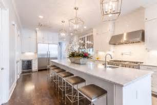 extra long kitchen island with gray barstools