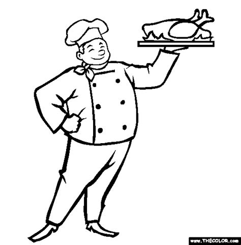 Chef Coloring Page  Free Online sketch template
