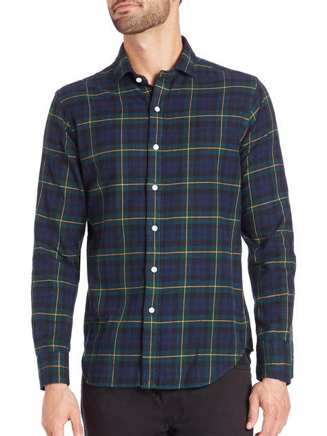 Plaid Shirt lyst polo ralph plaid twill shirt in blue for