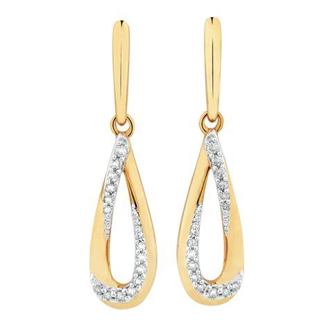 teardrop earrings with diamonds in 10kt yellow gold
