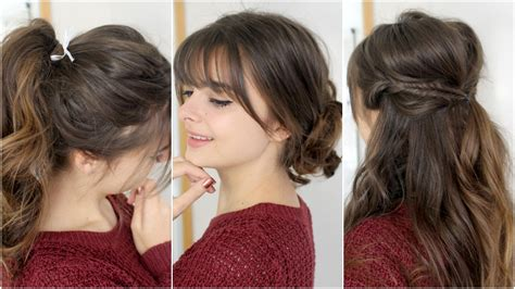 quick hairstyles with bangs 3 cute easy hairstyles loepsie