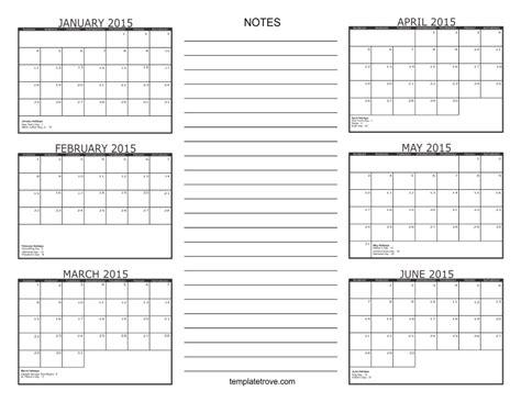 6 Month Calendar 2015 2015 Calendar Six Months Per Page Autos Post