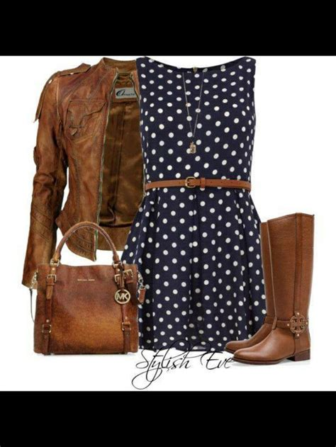 navy blue polka dot dress with brown accents clothes