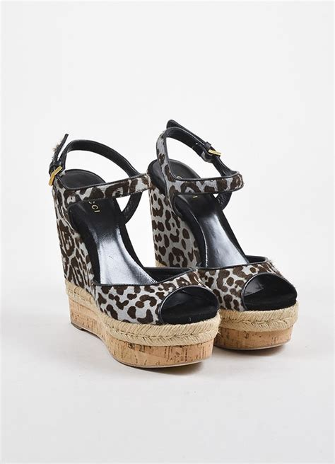 Gucci Wedges Brown gucci blue grey and brown gucci pony hair leopard print espadrille wedges luxury garage sale