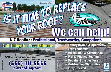 generic roofing company logo postcard mailer designer