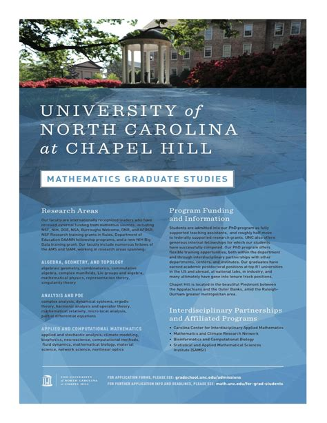 Unc Chapel Hill Mba Admission Requirements by Information For Applicants Department Of Mathematics