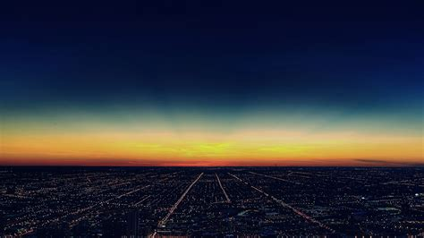 mg night sky flying blue sunset city wallpaper